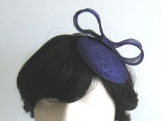 Aubergine purple cocktail hat fascinator with bow. hair accessory. Bridesmaid accessory. Handmade by Bettina Millinery on Etsy.. $75.00, via Etsy.