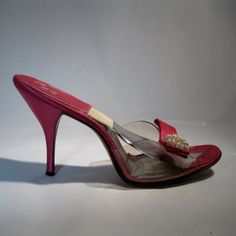 Hot Pink backless stiletto mule Springolators created by Beth Levine, unlonmadebride, etsy