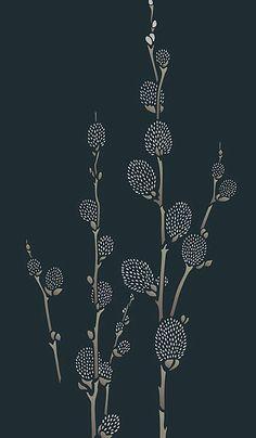 Oversize Pussy Willow Stencil - Henny Donovan Motif Stencils Uk, Stencil Designs, Dot Tattoos, Palm Sunday, Pottery Designs, Flower Images, Linocut Prints, Texture Art, Cute Pattern