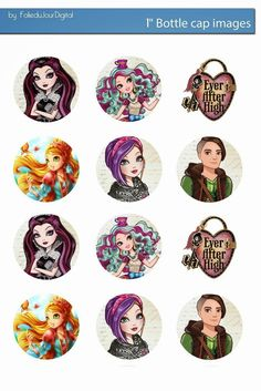 "Folie du Jour Bottle Cap Images: Free Digital Bottle Cap images 1"" Ever After High"