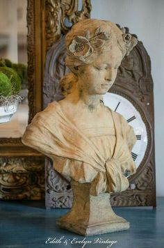 Antique FRENCH Art Nouveau Bust, Josephine, Terracotta Stone, Large and Heavy, Very Weathered - French antiques models and images French Decor, French Country Decorating, French Art, French Vintage, French Images, Art Nouveau, Art Deco, French Country Interiors, Country Interior Design