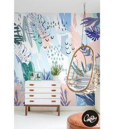 Papel pintado tropical pastel - decoración del hogar - hecho a mano en DaWanda.es
