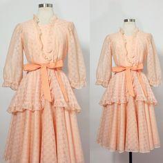 1960s Square Dance Dress / Ruffle Dress / Lolita by milkandice