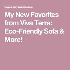 My New Favorites from Viva Terra: Eco-Friendly Sofa & More!