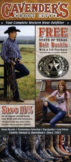 Cavender's Boot City 2013. Save 10%! #Cavenders #WesternWear #CowboyUp #Shopping #Brochure #Travel
