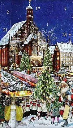 Advent calendar made in Germany  (Die Frauen Kirche und Christkindel market in Nürnberg)