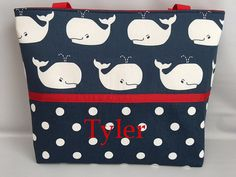 Nautical WHALES and Dots  ...  TOTE ...  Diaper by TweedleTotes