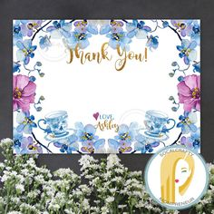 Tea Party Thank You Card // Bridal Shower Thank You Card // Tea Party Bridal Shower Thank You Card // Custom Tea Party Thank You Card // Purple Blue Gold Bridal Shower Thank You Card // Gold Glitter Tea Party Thank You Card // Watercolor Floral Bridal Shower Thank You Card by SoCalCrafty on Etsy. Printed on card stock or digital DIY. $10