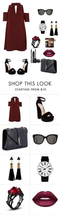 """""""red-black"""" by natalyholly on Polyvore featuring Topshop, Steve Madden, Yves Saint Laurent, Gentle Monster, Rosendahl, Lime Crime, Bobbi Brown Cosmetics and Rodial"""