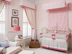 Cottage-Inspired Nursery - To add drama and height to the room, designer Liz Carroll of Liz Carroll Interiors creates a floral-printed canopy over the iron crib. So that the room isnt overwhelmed in pink, she uses white fabrics on the curtains and chair and trims them with hot pink.