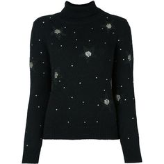 Saint Laurent star embellished jumper ($1,580) ❤ liked on Polyvore featuring tops, sweaters, black, ribbed sweater, embellished sweaters, beaded top, long sleeve jumper and jumpers sweaters
