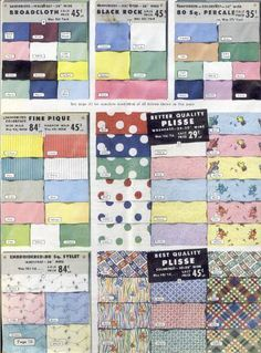 This is a fabric swatch board from the 1940s, showing popular colors and motifs. It's always nice to see exactly what fabrics were used.