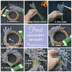 how to make a lavender wreath… Lavender Decor, Lavender Crafts, Lavender Wreath, Lavender Flowers, Lavender Centerpieces, Lavander, Lavender Hedge, Diy Wreath, Wreaths
