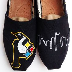 Pittsburgh pride painted toms shoes. Steelers Pirates and Pens plus the city skyline. Have your own shoes customized through my etsy shop at http://www.etsy.com/shop/waffleink
