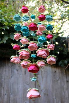 Mulit-color Medium Felt (LG Flower) Rose Mobile with bottom crystals. $120.00, via Etsy.