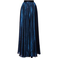 Hussein Bazaza Metallic Long A-Line Skirt ($2,000) ❤ liked on Polyvore featuring skirts, metallic skirt, knee length a line skirt, long skirts, high waisted skirts and long blue skirt
