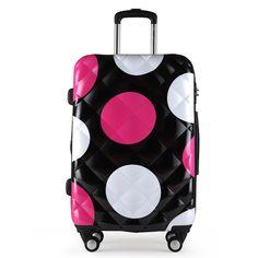 """Meninas Dot padrão de bagagem e mulheres viagem mala de viagem ABS + PC Universal rodas carrinho de bagagem saco 20 """" 24 """" 28 """" polegadas rolando bagagem"""
