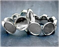 Silver Bracelet Base  Set of 2  Blank by ShopDogCraftSupplies