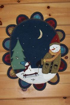 Winterberry Cabin, Hand-dyed Felted Rug Hooking Wool, Wool Applique, Penny Rug Patterns Kits- could be modified for punch needle Christmas Applique, Christmas Sewing, Noel Christmas, Christmas Crafts, Penny Rug Patterns, Wool Applique Patterns, Felt Applique, Felted Wool Crafts, Felt Crafts