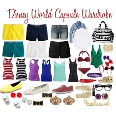Disney World Capsule Wardrobe - I would substitute tees for the tanks, and a few skirts for shorts. Disney World Packing, Disney World Outfits, Disney Fashion, Disney Vacation Outfits, Travel Packing, Travel Tips, Character Inspired Outfits, Disney Inspired Outfits, Disney Style