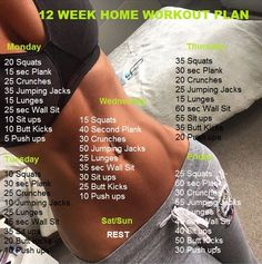 If you want to lose weight, gain muscle or get fit check out our men's and women's workout plans for you, that can be done at home with minimum equipment. Here are amusing workout plans are easy to follow, that you can do in addition to 12 week home workout. Monday 20 Squats 15 sec Plank 25 Crunches 35 Jumping Jacks 15 Lunges 25 sec Wall Sit 10 Sit ups 10 Butt Kicks 5 Push ups Tuesday 10 Squats 30 sec Plank 25 Crunches 10 Jumping Jacks 25 Lunges 45 sec Wall Sit 35 Sit ups 20 Butt Kicks 10…