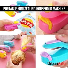 his sealer will motivate you to not finish the whole bags of chips you're eating! Gadgets And Gizmos, Cool Gadgets, Chip Bags, Survival Quotes, Cool Inventions, Useful Life Hacks, Cool Tools, Kitchen Gadgets, Cleanser