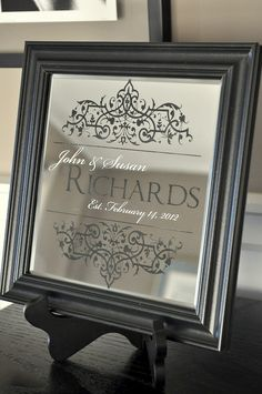 Personalized Family Name Sign Established Personalized Mirror 10x10 Laser Engraved. $39.00, via Etsy.