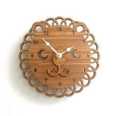 Modern Animal Bamboo Wall Clock  Lion by decoylab on Etsy, $78.00