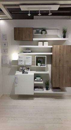 Composition rangement mural Ikea Besta Bois gris blanc Leds | apartment | Pinterest | Salon ...