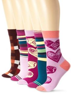 PACT Women's 5 Pack Love Crews Socks, Multi, One Size PACT. $29.99