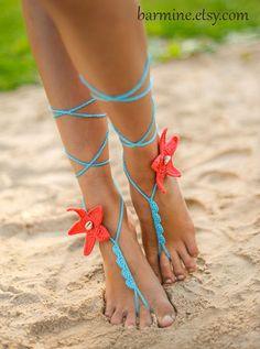 Coral e Estrela do Mar faz do Aqua Conchas Crochet Barefoot POR barmine