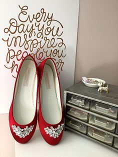 Wedding Shoes Ballet Flats Red Shoes Red Ballet by Parisxox
