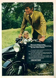 """""""You've got style. You don't need leopard skin upholstery and a stereo record player to attract attention."""", Cricketeer, 1969"""