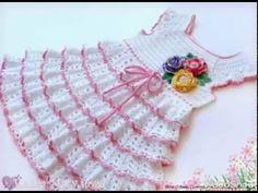Vestido muy bonito para niñas, en crochet - con patrón
