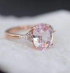 Rose gold engagement ring - Blush sapphire engagement ring Light peach pink sapphire 3 oval diamond ring Rose gold Campari Engagement ring by Eidelprecious – Rose gold engagement ring Wedding Rings Rose Gold, Wedding Rings Vintage, Bridal Rings, Vintage Engagement Rings, Wedding Jewelry, Gold Wedding, Gold Jewelry, Gold Rings, Pink Rings