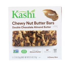 Kashi, Chewy Nut Butter Bars, Double Chocolate Almond Butter, 5 Chewy Bars, 1.23 oz (35 g) Each