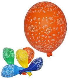 5 tlg. Set Luftballons - Schulanfang ABC Schultüten - Ballon Schulbeginn Kindergeburtstag Party Geburtstag Vorschule Schuleinführung Buchstaben Schule