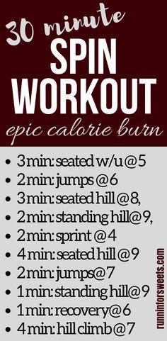 This 30 minute spin workout routine is the ultimate way to burn calories indoors. Challenge yourself to the intervals in this indoor cycling workout! The ultimate hiit workout on the stationary bike. This 30 minute workout is a fun way to burn massive cal Yoga Routine, Spin Class Routine, Hiit Bike, Spin Bike Workouts, Cardio Workouts, Workout Abs, Cross Training Workouts, Yoga Training, Interval Training