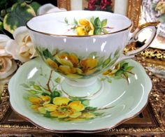ROYAL STANDARD TEA CUP AND SAUCER WILD ROSE PATTERN LIME GREEN TEACUP