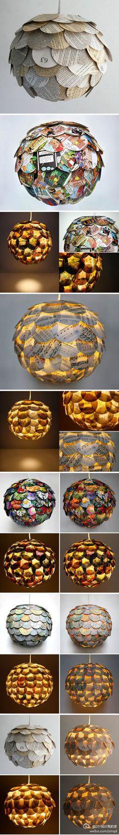 创意DIY吊灯/纽约建筑设计师 Allison Patrick 设计了30个吊灯的DIY设计,都是 用不同的纸裁剪后粘贴成的,比如地图,电话本,小说,杂志等等不同的纸,这样的东西不管放在哪里都会很亮眼吧?关键的是,做起来也不难啊!