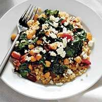 Quinoa with Swiss Chard, Raisins and Feta... I tried to halve the amount of raisins and only used water with s need to redo with both!