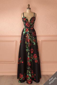 Carmelda Dark - Black And Red Floral Maxi Dress