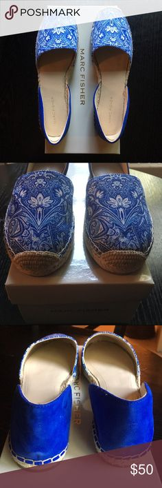 Marc Fisher Espadrille Sandals Blue and white espadrille sandals features a flower print in a cloth material covering the front of the foot and suede in the back. These sandals are very comfortable. The color of the suede is much deeper and richer in the pictures vs. in person. Sandals are a size 8 and are true to size. Sandals have never been worn. Marc Fisher Shoes Espadrilles