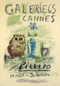 Original Plakate Picasso Original Poster Picasso Affiche original Picasso Titel Galerie 65, Cannes Technik Original-Farb-Lithografie