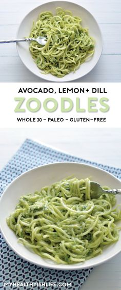Light bright and easy-to-make these avocado lemon and dill zoodles are the perfect summer side dish. paleo vegan gluten-free and most important delicious! Paleo Recipes, Cooking Recipes, Vegan Zoodle Recipes, Summer Vegetarian Recipes, Dill Recipes, Free Recipes, Comida Keto, Clean Eating, Healthy Eating