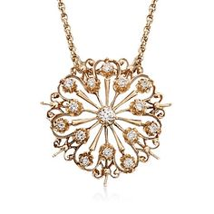 C. 1980 Vintage 2.30 ct. t.w. Diamond Starburst Pin Pendant Necklace in 14kt Yellow Gold. 17.5""