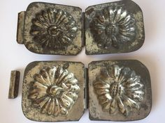 A pair of Antique Chocolate Molds ''Flower'', Metal Molds Numbered Keuter & Co, Amsterdam. Laundry Labels, Butter Molds, Vintage Laundry, Chocolate Molds, Antique Metal, Makers Mark, I Shop, Great Gifts, Monogram
