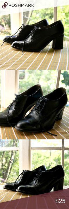 a6d0cebd273 Vintage Black Lace Up Heeled Booties Perfect condition! Leather upper  amp   man made sole