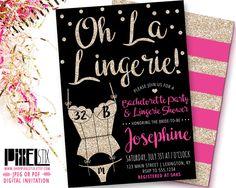 Gold Glitter Lingerie Shower Invitation, Oh La Lingerie, Bachelorette Party Invite, Sexy Corset, Black Pink Lingerie Bridal Shower PRINTABLE by shopPIXELSTIX on Etsy