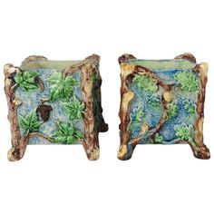 Pair of Majolica Palissy Jardinieres Thomas Sergent, circa 1880 | From a unique collection of antique and modern vases and vessels at https://www.1stdibs.com/furniture/decorative-objects/vases-vessels/